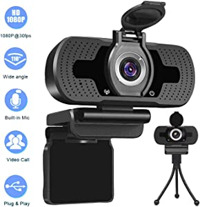 Webcam with Microphone 1080P HD USB Desktop Web Cam Camera with Privacy Cover Facecam Video Cam for Streaming Gaming Conferencing Mac Windows PC Laptop Computer Xbox Skype OBS Twitch YouTube Xsplit