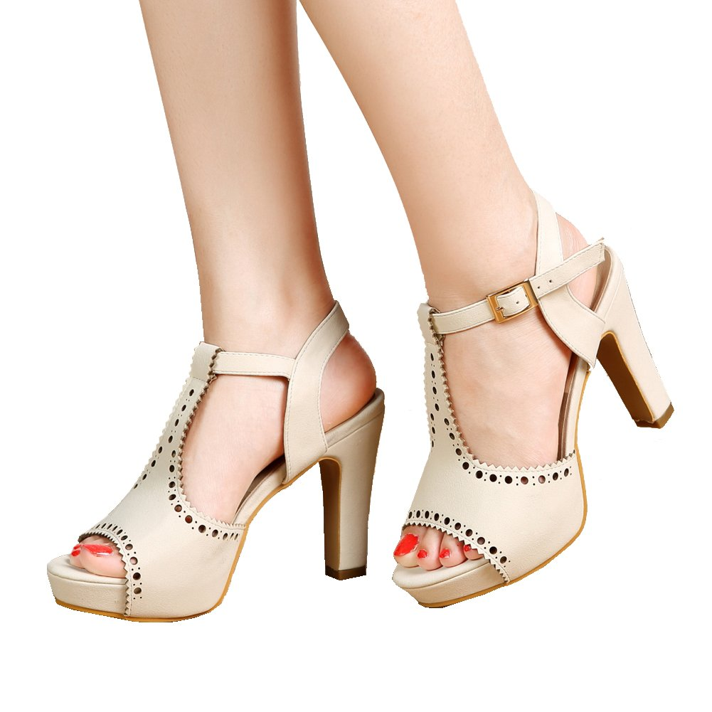 Ivory-195 getmorebeauty Women's Vintage Suede Ankle T Straps Dress Block Heeled Sandals Pumps