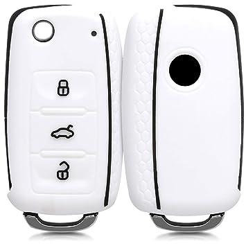 kwmobile Funda de Silicona para Llave de 3 Botones para Coche VW Skoda Seat - Carcasa Protectora [Suave] de [Silicona] - Case Mando de Auto ...