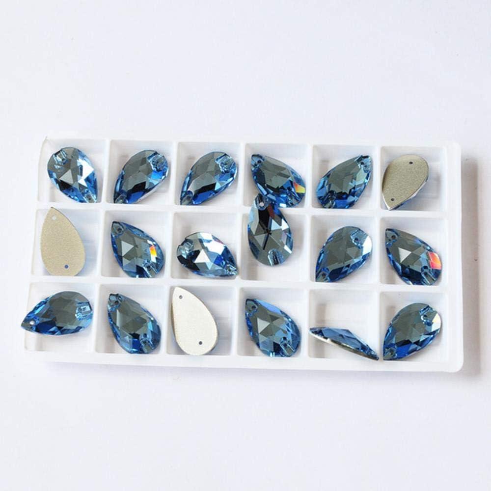PENVEAT 6A Rhinestone Piedras de Costura Strass Lágrima Cose en Diamantes de imitación para la decoración del Vestido, Bolsos, Prendas de Vestir, Zapatos, Aguamarina, 17x28 mm 6 Piezas