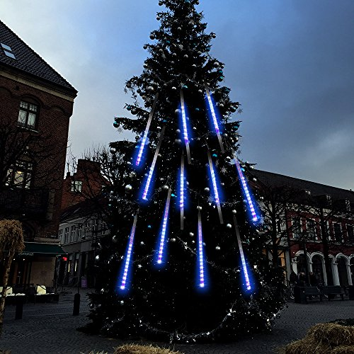 amazoncom topist falling rain christmas lights waterproof led meteor shower with 30cm 8 tube 144 leds icicle snow fall string cascading louisville decorative outdoor lighting adds mystique l