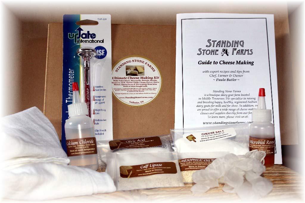 Standing Stone Farms Ultimate Cheese Making Kit - Mozzarella, Feta, Halloumi, Cheddar Cheese Curds, Pepper Jack, Cream Cheese, Marscapone, Chèvre, Burrata and more.