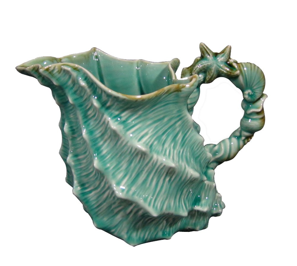 Blue Sky Ceramic Shell Figural Pitcher, 10 x 6 x 7.5, Blue