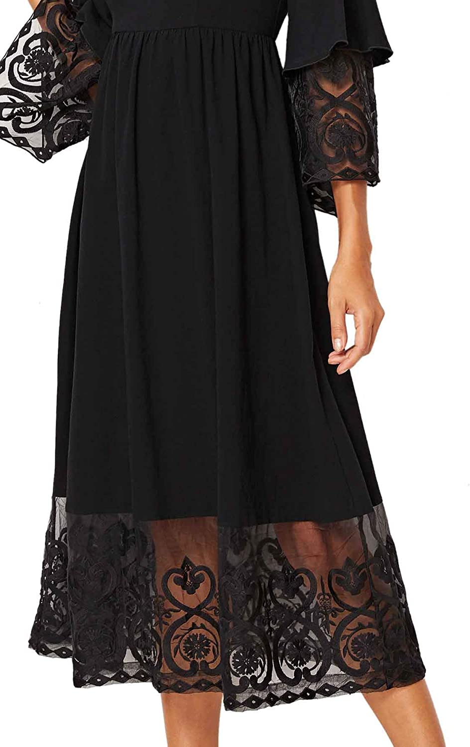 MAKEMECHIC Womens Solid Mock Neck Embroidery Lace Cuff and Hem Flared Long Dress