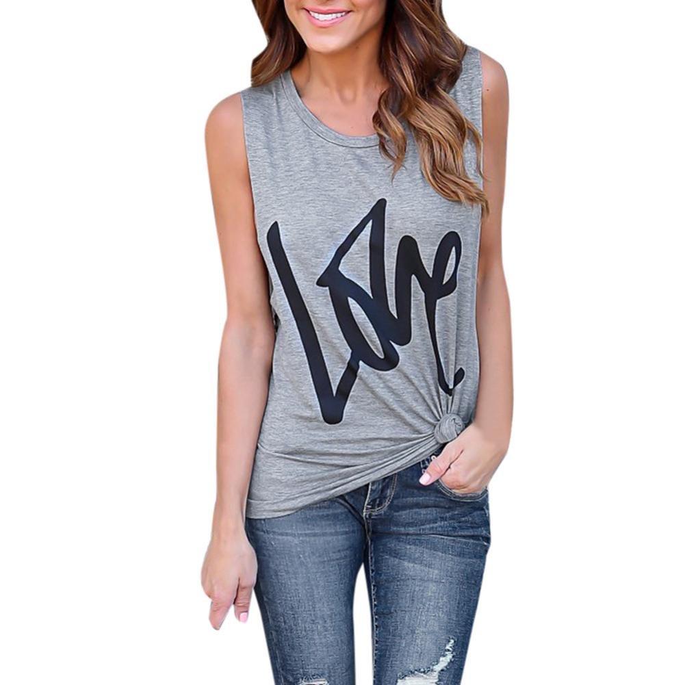 Womens Sleeveless T-Shirt Lady Fashion Soild Print Blouse Sexy Vest Fashion