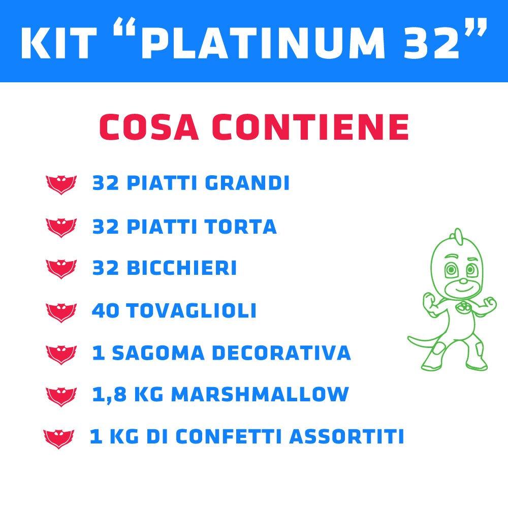 PJ Masks Kit TIPILIANO para NIÑOS | Birthday Party Kit, Pigiamini | Producto Original | Formato de conveniencia | Todo LO Necesita | Fiesta temática, ...