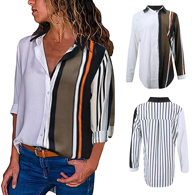 669c052b22209 OldSch001 Women s Button Down Long Sleeve Blouse Tops Casual Color Block  Stripe Button T Shirts Tops at Amazon Women s Clothing store