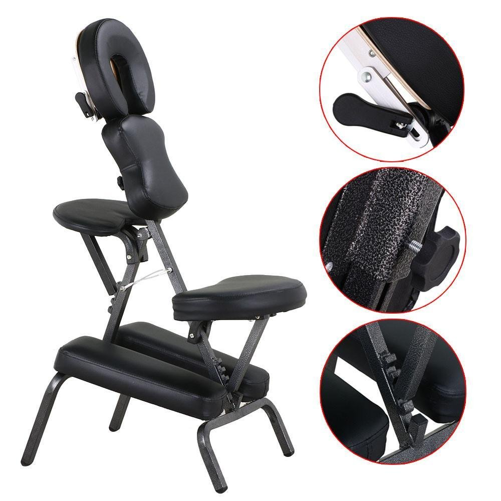Yaheetech Portable PU Massage Chair Travel Leather Pad w/Carrying Bag Black