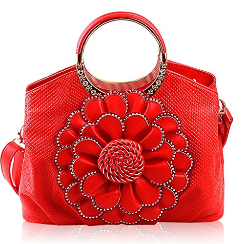 Crossbody Shoulder Elegant Girls Ladies Flowers Pu Messenger Red Leather Handbags Womens Kaxidy Bags Chic Tote Shopper 7zUwxq1ft