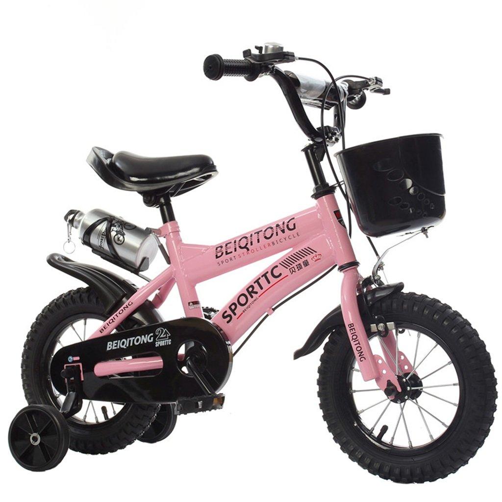 KANGR-子ども用自転車 子供用自転車適切な2-3-6-8男の子と女の子子供用玩具屋外用マウンテンバイクハンドルバーとサドルはトレーニングホイールで調節可能な高さにできますウォーターボトルとホルダー-12 / 14/16/18インチ ( 色 : ピンク ぴんく , サイズ さいず : 12インチ ) B07BTTZH6G 12インチ|ピンク ぴんく ピンク ぴんく 12インチ