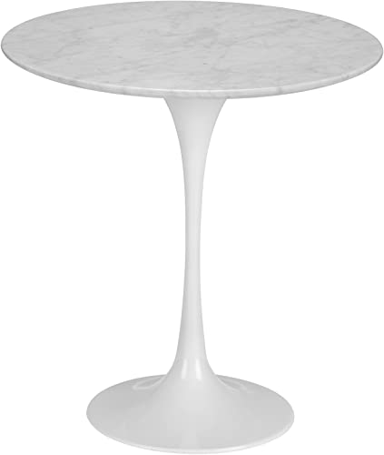 Poly and Bark Daisy 20 Marble Side Table in White Base