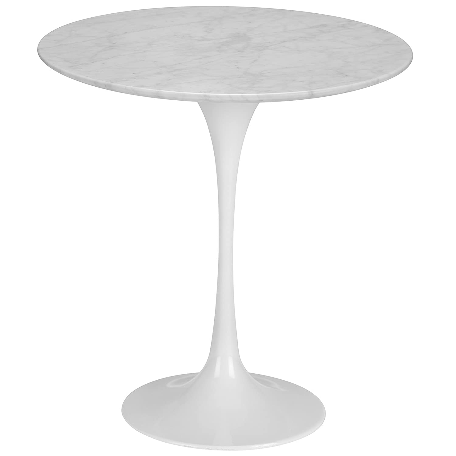 "Amazon Poly and Bark Daisy 20"" Marble Side Table in White"