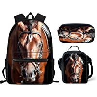 HUGS IDEA Kids Backpack Set Soccer Horse Cat Dog Tiger Galaxy Print School Bag with Lunch Bags Pencil Case 3 in 1