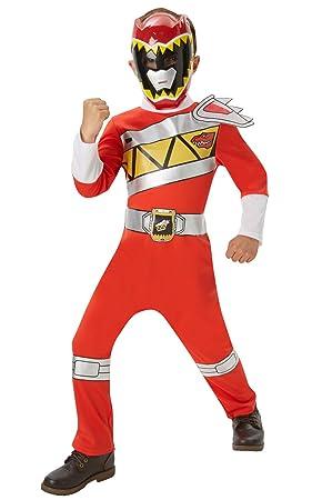 Disfraz oficial de Power Rangers Dino Charge rojo para niños entre 3 y 4 años Rubies.