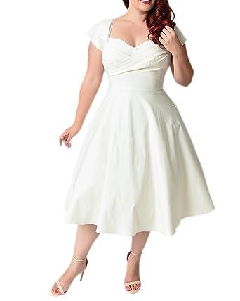 c91741f093 ABYOXI Damen Vintage A-Linie 50er Retro Rockabilly Kleid Knielang  Abendkleid Große Größen Weiß DE