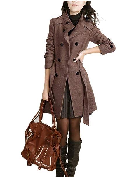 Gabardina Mujer Largo Moda Otoño Invierno Tallas Grandes Abrigo Lana Mode De Marca Elegantes Doble Botonadura Color Sólido Slim Fit Casuales Manga Largo ...