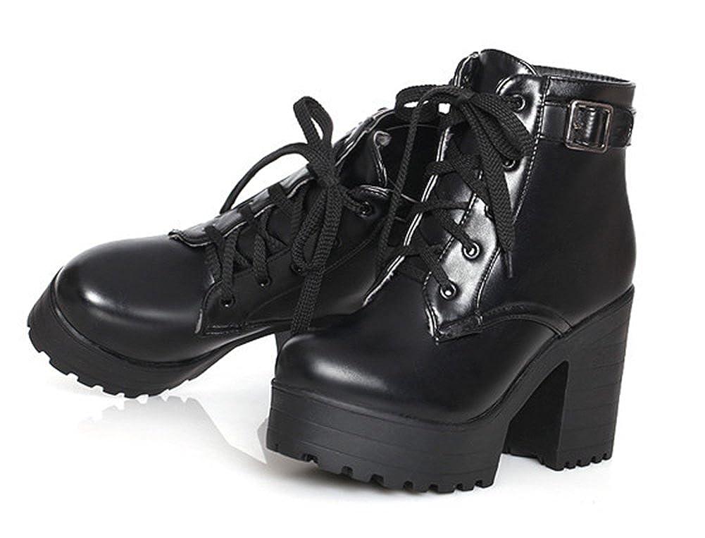 Aisun Femme Mode Plateforme à Talon Bloc Bottines avec Boucle Noir 38   Amazon.fr  Chaussures et Sacs a035d13757fe