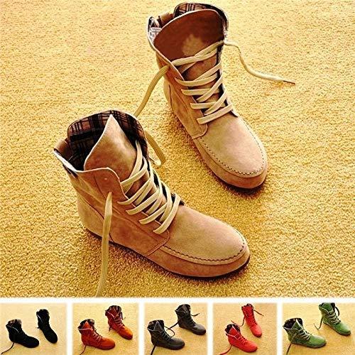 (yiming Up Winter Autumn Boots Flat Ankle Fashion Design Modish Hot Women's Shoes Lace Shoes Plaid Martin Boot Shoes(Khaki,EU42(Fur)))
