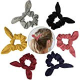 Hair Ties Scrunchies Elastics Soft Bow Knotted Rubber Bands Cotton Hair Scrunchy Bobbles Ponytail Holder For Women Girls Thick Hair, 6 Colors