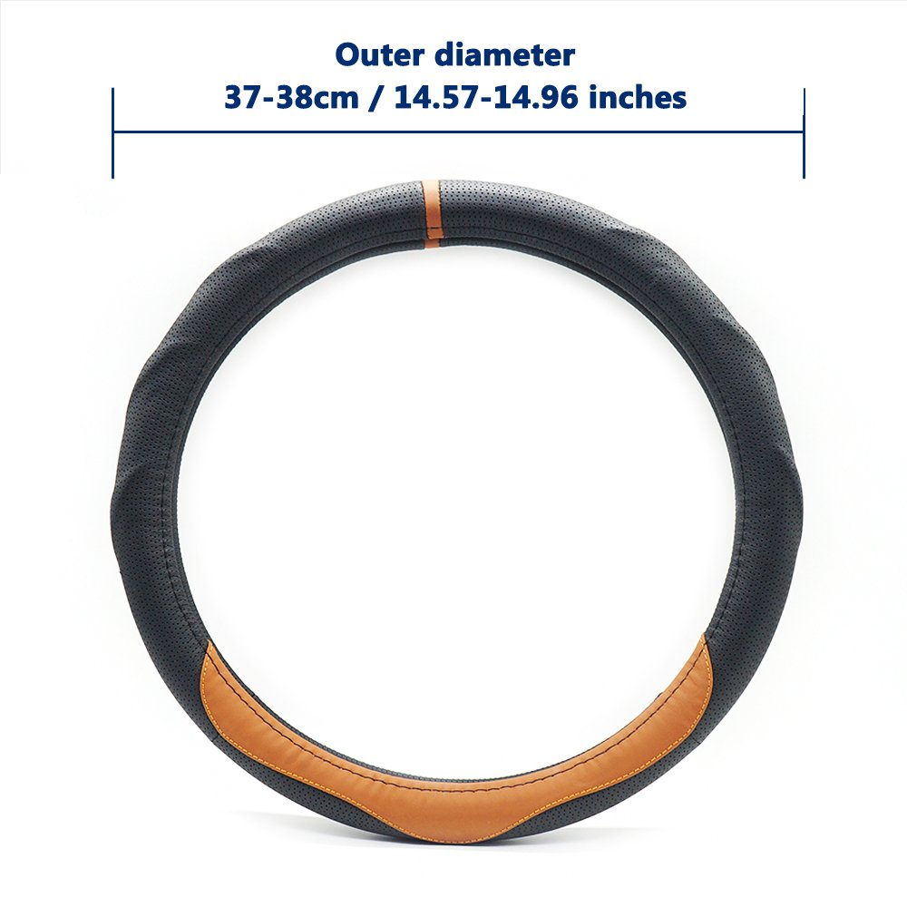 LOCEN Genuine Leather Steering Wheel Cover Universal Car Outer Diameter 38cm/15\