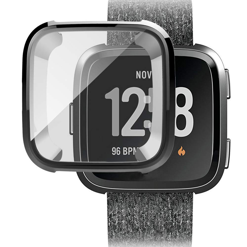 Ljnuanrg for Fitbit Versa Screen Protector Case ,Electroplated TPU All-Inclusive Case (Black, ONE)