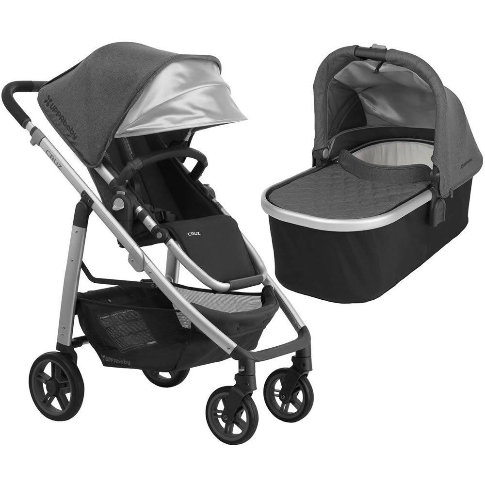 2018 Uppa Baby Cruz Stroller   Jordan (Charcoal Melange/Silver/Black Leather) + Bassinet  Jordan (Charcoal Melange/Silver) by Upp Ababy