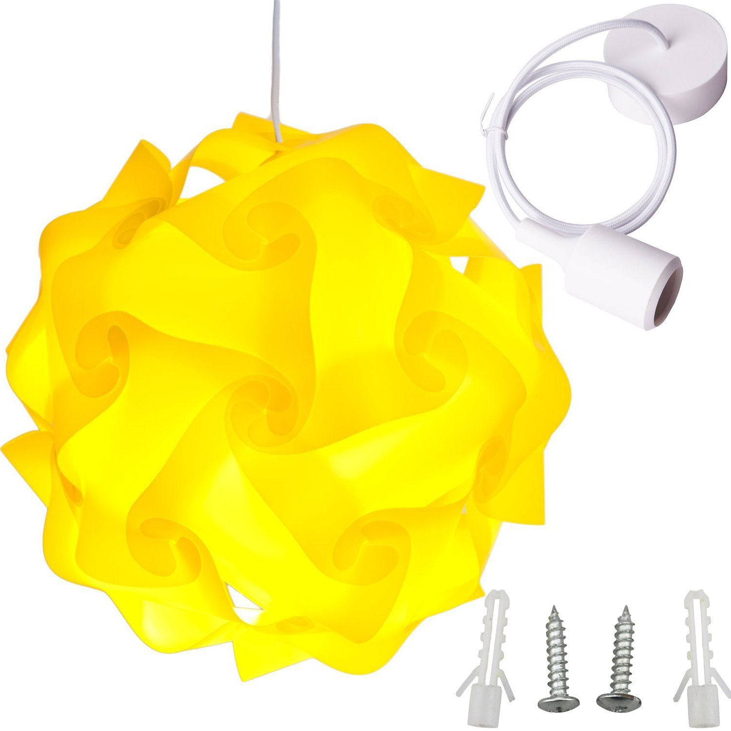 Lightingsky Ceiling Pendant DIY IQ Jigsaw Puzzle Lamp Shade Kit with 40 Inch Hanging Cord Yellow, Large-40cm