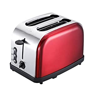 Stainless Steel Toaster, External Grill Automatic 2 Piece Home Breakfast Bread Machine(220V),Red