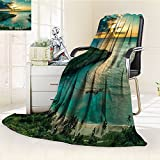 Ocean Blanket Hawaiian Custom By Nalohomeqq Sunrise Over Hanauma Bay On Oahu Hawaii Sunbeams Through Dark Clouds Shore Accessories Hypoallergenic Printed Fleece Blanket