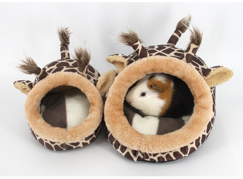 S-LINE Small Animals Hamster Sleep Bed Cave Plush Warm House Sofa Cage Accessories for Hedgehog Dwarf Mouse Rabbit Totoro Guinea Pigs Squirrels (L: 9'' L x 8.2'' W x 5.9'' H, Brown Giraffe) by Evursua