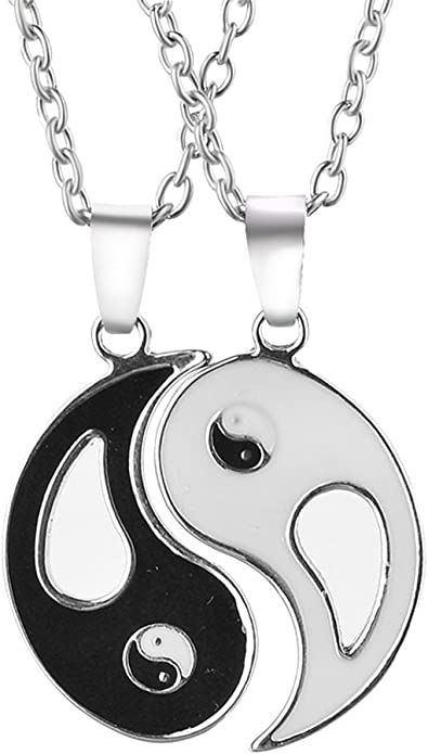 Wansan 1 Pair Necklace Tai Ji Shape Yin Yang Couple Necklace Alloy Pendant Necklace Gifts Accessory