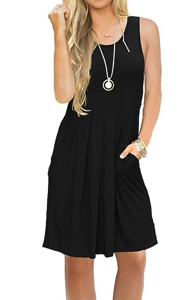d1e746d1a6 JOSIFER Womens Summer Casual Swing Beach Tunic Sun Dresses Sleeveless T  Shirt A Line Cute Dress for Women Black, X-Large at Amazon Women's Clothing  store: