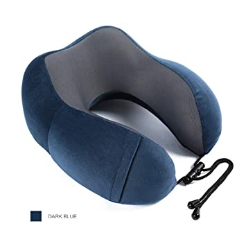 Travel Neck Pillow Memory Foam Soft U Shaped Car Head Rest Support Blue