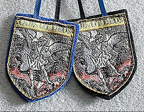 St Michael Badge Scapular-- Each scapular is embroidered with an image of St. Michael defeating the devil on each panel. Pieces/pkg: 12