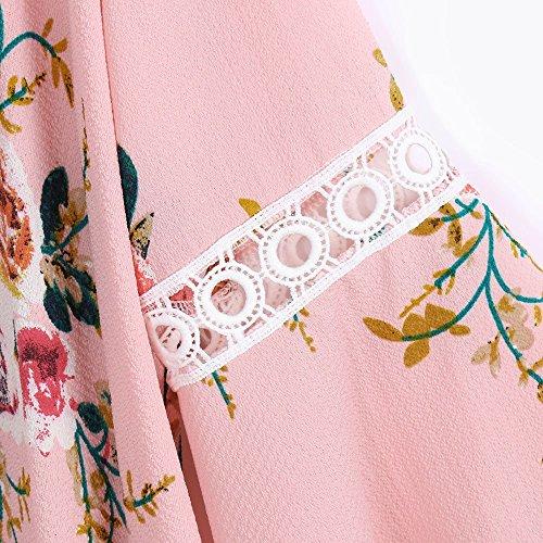 camicetta in floreale blu stretto donna copertura grigio Cappotto selvaggia estate Cardigan Moda chiffon Rosa1 Super per bianco Kimono qualità accattivante stampa cTznnCOgd