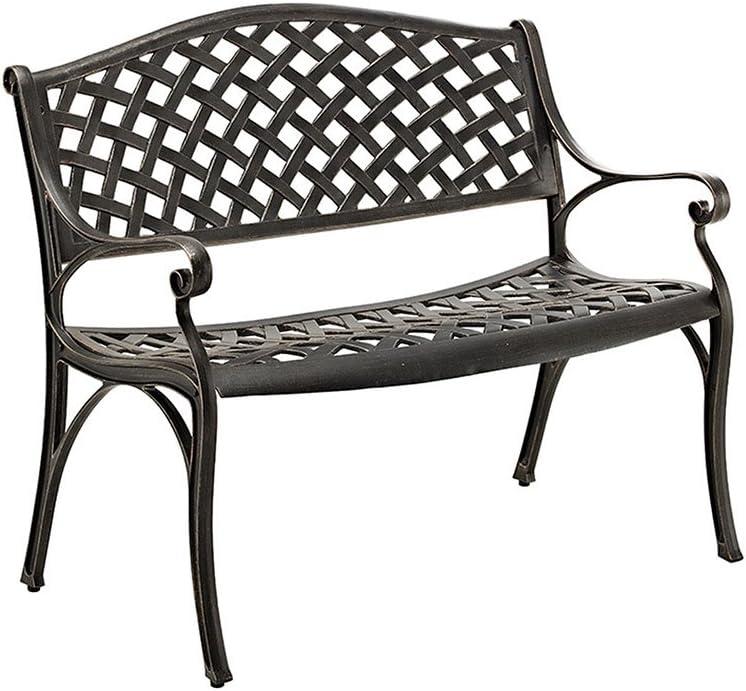 "WE Furniture 42"" Cast Aluminum Wicker Style Metal Park Bench Metal Bench Garden Seat"