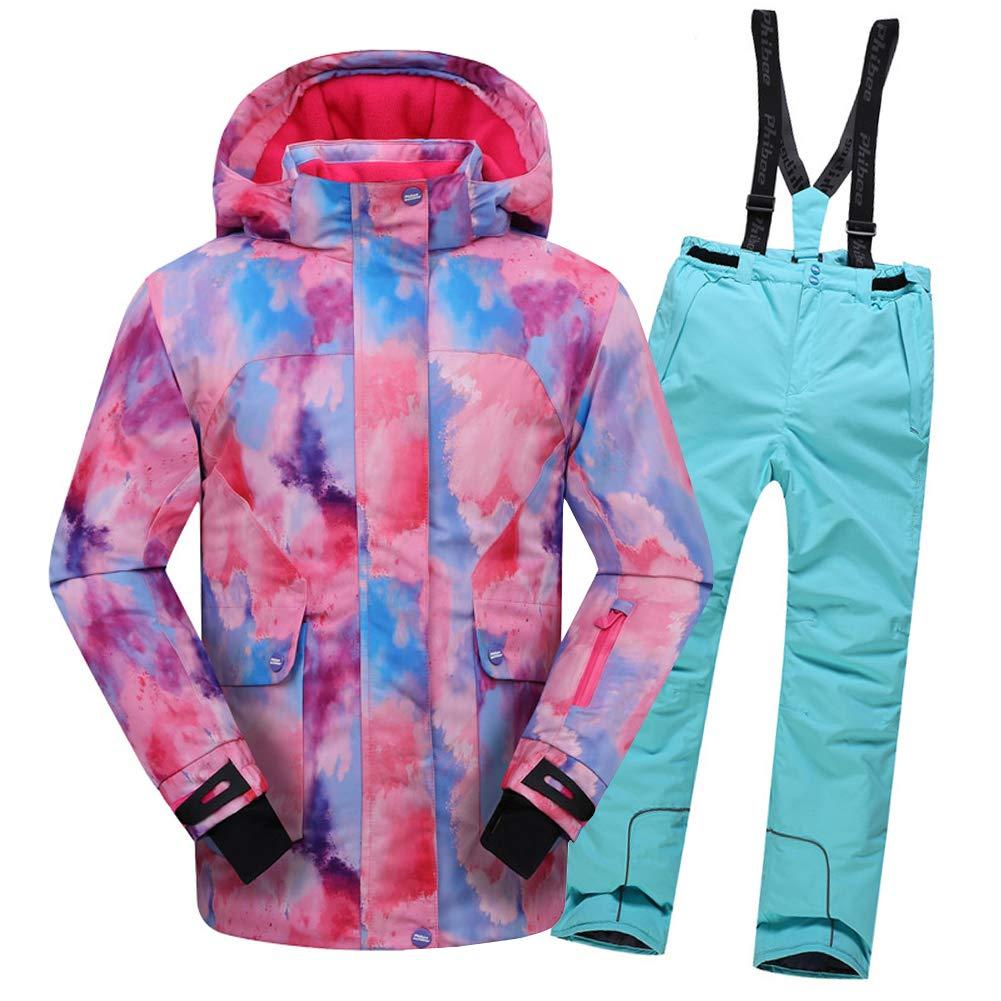 Top Rose+pantalon Bleu Clair 5-6 ans  hauteur recomhommedée 115-120cm LPATTERN Enfant Garçon Fille Combinaison Imperméable de Ski Veste Pantalon épais Ski Doudoune Coupe Hiver 2PCS 2-12ans