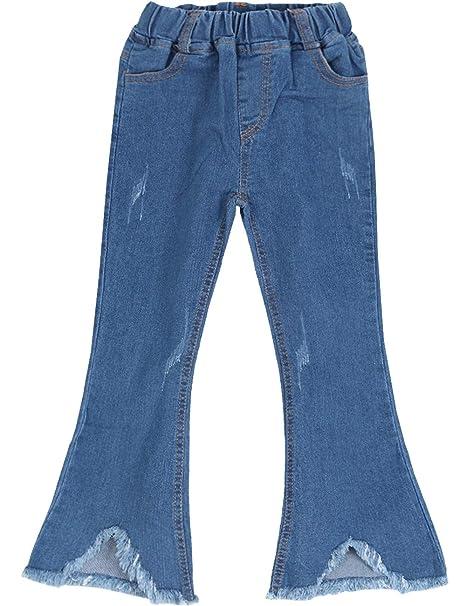 099ff172538 WIYOSHY Girls' Skinny Ripped Bellbottoms Elastic Waist Denim Jeans F919