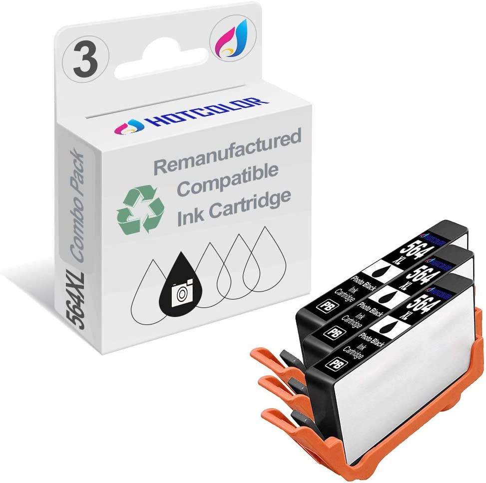 HOTCOLOR 564XL (Photo Black) Ink Cartridges Remanufactured for HP 564 HP 564XL Photo Black Ink Cartridge (CB322WN)-3 Pack
