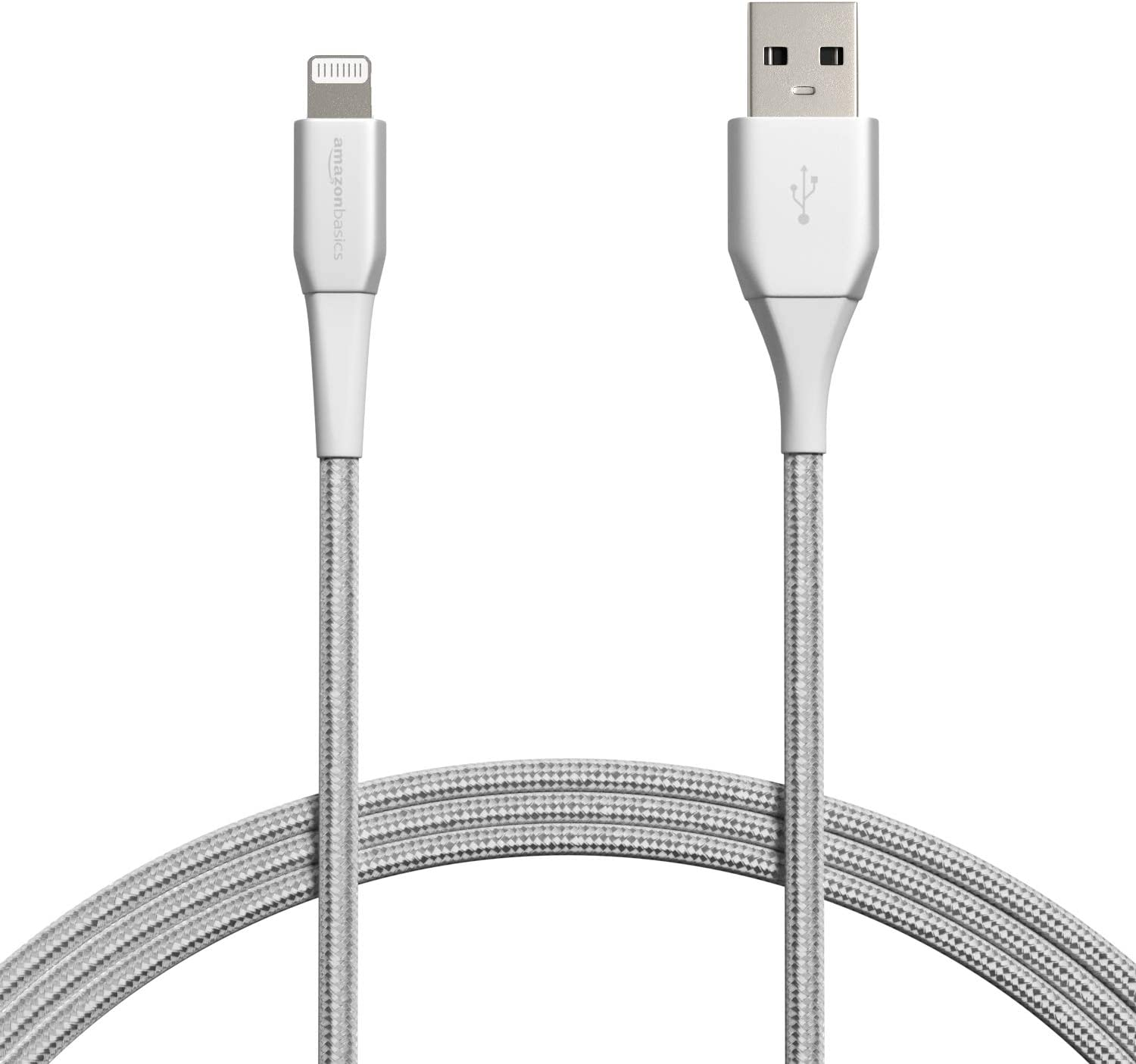 AmazonBasics Premium Double Nylon Braided Lightning to USB Cable - MFi Certified Apple iPhone Charger, Silver, 6-Foot (Durability Rated 20,000 Bends)