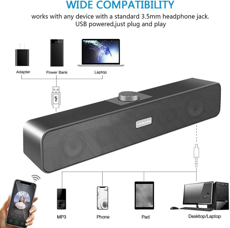 USB Powered /& Aux Connection Mini Desktop Sound bar Speaker for PC BEFANS Computer Speakers Cellphone Laptop Tablet
