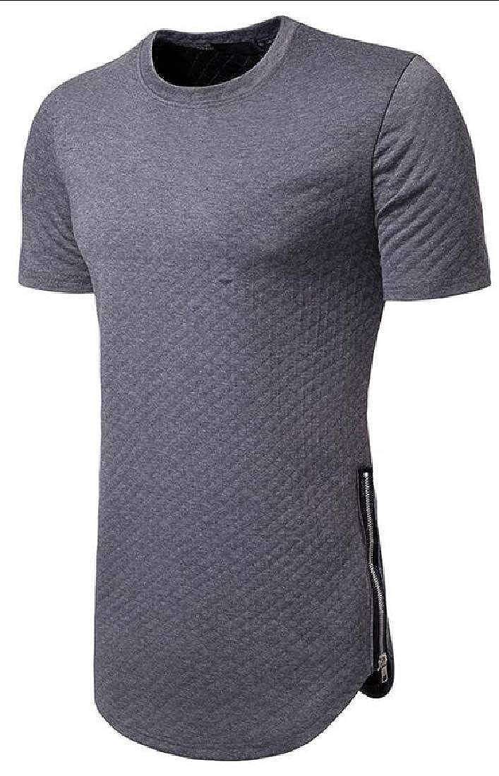 Mens Casual Side Zipper Hip Hop Crew Neck Short Sleeve T-Shirt Tee Top