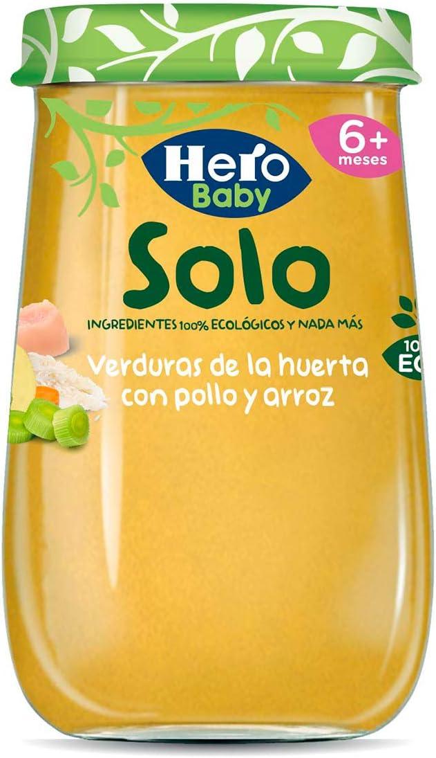 Hero Baby Solo Verduras de la Huerta con Pollo y Arroz Tarrito Ecológico para Bebés a partir de 6 meses Pack de 12 x 190 g