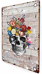 Anatomy Skull Flower Floral Vintage Rustic Farmhouse Retro Metal Wall Sign Decor, Home Studio Decor for Dr Office, Gift for Doctor, Physician, Nurse,Friend