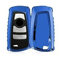 kwmobile Custodia protettiva per chiave con control remoto BMW con 3 tasti (solo Keyless Go) - protezione per chiave in TPU silicone azzurro brillante - cover accessori auto