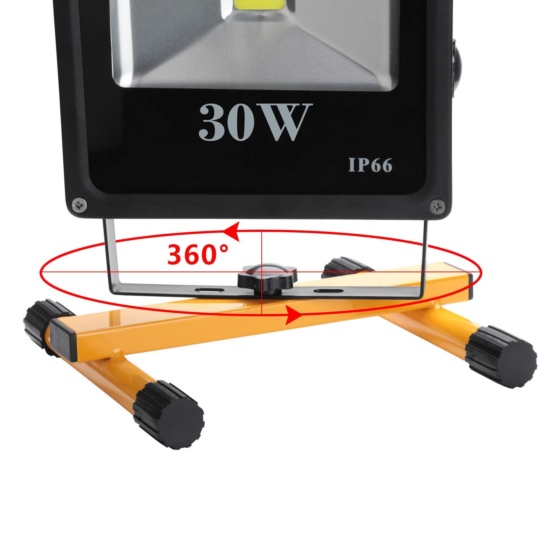 6000K Akku Arbeitsleuchte IP66 Wasserdicht Bauscheinwerfer Hengda LED Baustrahler 10W Kaltwei/ß Standgestell und Tragegriff inkl Arbeitsscheinwerfer 900 Lumen