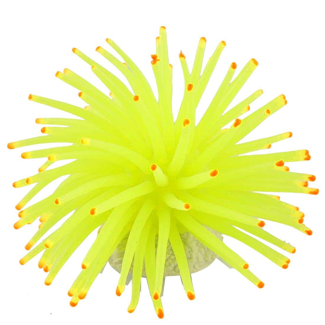 uxcell Round Ceramic Base Soft Silicone Aquarium Coral Ornament, Yellow/Green