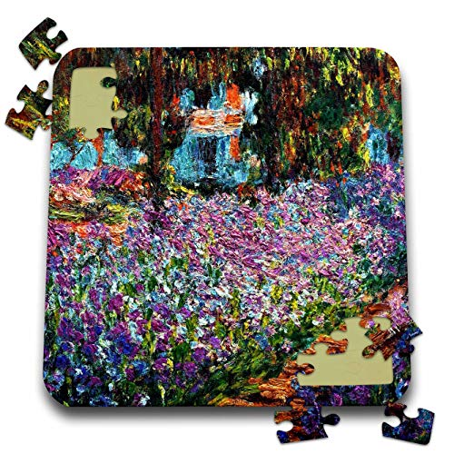 Irises Monet Garden - 3dRose VintageChest – Masterpieces - Claude Monet - Irises in Monets Garden - 10x10 Inch Puzzle (pzl_303319_2)