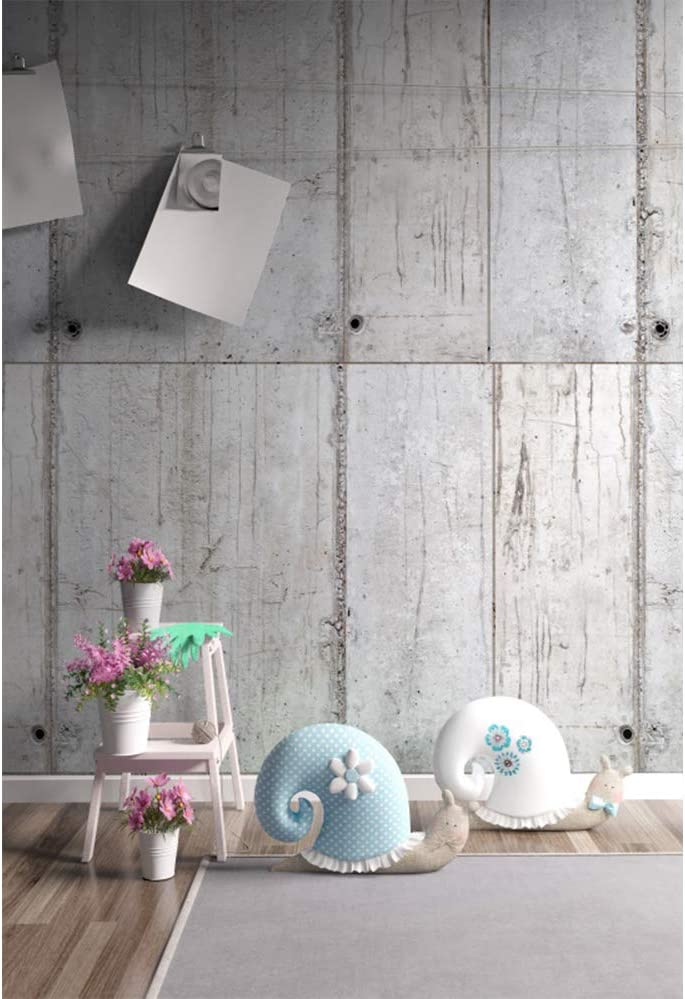 Leyiyi Indoors Room Scenery Backdrop 8x10ft Photography Backdrop Pink Floral Flowers Snail Decor Vintage Grunge Broken Cement Wall Party Backdrop Photo Booth Props