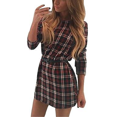 5ab6dc6ff900 Arrowhunt Womens Tartan Plaid Long Sleeve Short Swing Shirt Dress Without  Belt White  Amazon.co.uk  Clothing